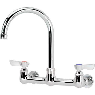 """Krowne 12-802L - Commercial Series 8"""" Center Wall Mount Faucet, 8-1/2"""" Gooseneck"""