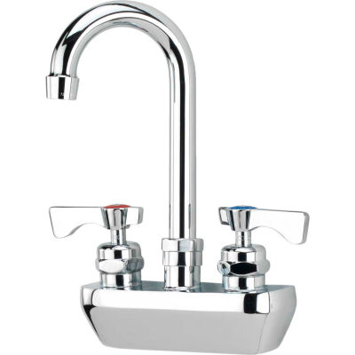 "Krowne 14-402L - Royal Series 4"" Center Wall Mount Faucet, 8-1/2"" Gooseneck Spout"
