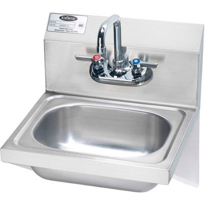 "Krowne® HS-10 - 16"" Wide Hand Sink With Side Support Brackets, Wrist Handles"