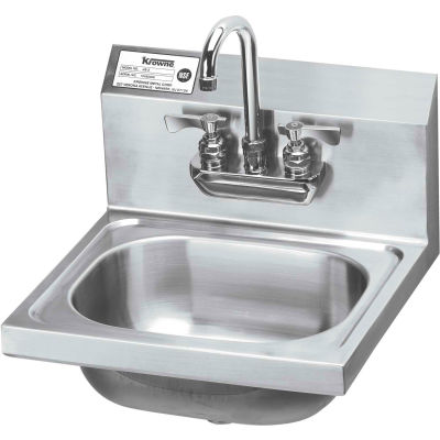 "Krowne®® HS-22 16"" Wide Hand Sink With Heavy Duty Faucet, Wrist Handles"