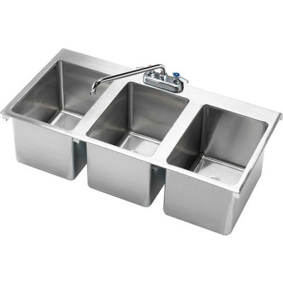 """Krowne® HS-3819 Three Compartment Drop-In Hand Sink 36"""" x 18"""""""