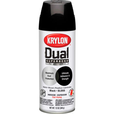 Krylon Dual Paint & Primer Aerosol 12 Oz. Gloss Black - K08801001 - Pkg Qty 6