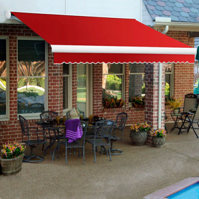 """Awntech KWR12-35-R, Retractable Awning Right Motor 12'W x 10'D x 10""""H Red"""