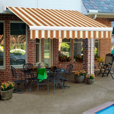 "Awntech KWR12-254-WTTER, Retractable Awning Right Motor 12'W x 10'D x 10""H Tan/Terra/White"