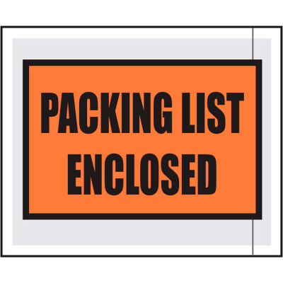 """Packing List Envelopes - """"Packing List Enclosed"""" 4-1/2"""" x 5-1/2"""" Full Face - 1000/Case"""