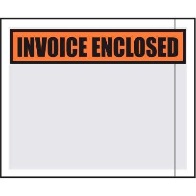 "Packing List Envelopes, ""Invoice Enclosed"" Print, 4-1/2""L x 5-1/2""W, Orange, 1000/Pack"