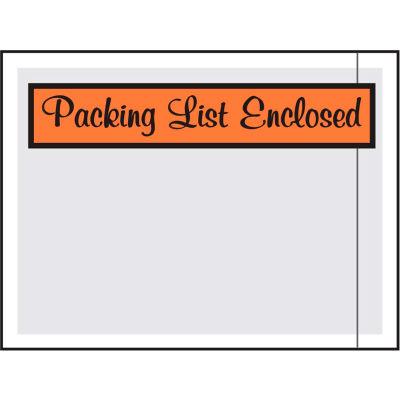 "Packing List Envelopes - ""Packing List Enclosed"" Script 4-1/2"" x 6"" Orange - 1000/Case"