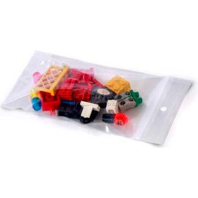 "Reclosable Bags w/ Hang Holes, 3""W x 4""L 2 Mil Clear, 1000/CASE"