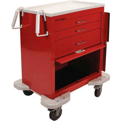 Lakeside® C-324-P2B-1R Classic 3-Drawer Medical Emergency Cart, Red, Breakaway Lock