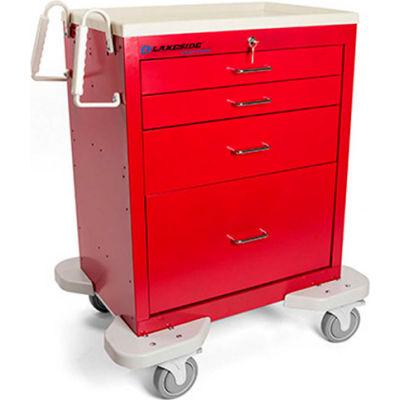 Lakeside® C-424-K-1R Classic 4 Drawer Medical Emergency Cart, Red, Key Lock