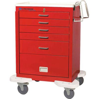 Lakeside® C-530-P2K-1R Classic 5-Drawer Medical Emergency Cart, Red, Key Lock