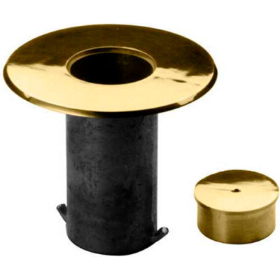 """Lavi Industries, Floor Socket with Cap, for 2"""" Tubing, Polished Brass"""