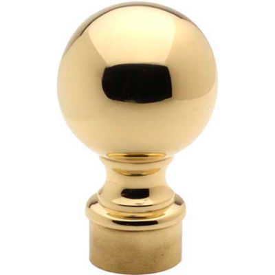 """Lavi Industries, Ball Finial, for 1.5"""" Tubing, Polished Brass"""