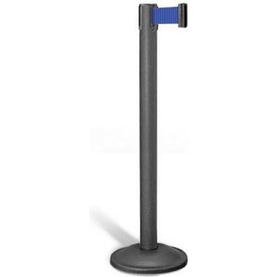 """Lavi Industries Contempo Queuing Stanchion, 40""""H Black Post, 7'L Blue Belt, Round Base"""
