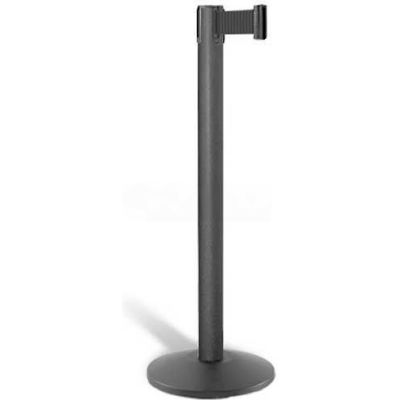 "Lavi Industries Contempo Queuing Stanchion, 40""H Black Post, 7'L Black Belt, Sloped Base"