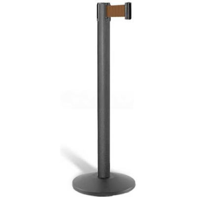 "Lavi Industries Contempo Queuing Stanchion, 40""H Black Post, 7'L Bronze Belt, Sloped Base"