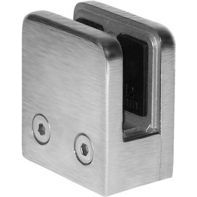 """Lavi Industries, Satin Stainless Steel Flat Back Glass Clip For 1/2"""" Glass"""