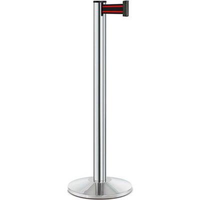 "Lavi Industries Beltrac® Retractable Belt Barrier, 40"" Chrome Post, 7' Black/Red Belt"