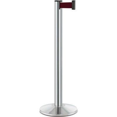"Lavi Industries Beltrac® Retractable Belt Barrier, 40"" Chrome Post, 7' Burgundy Belt"