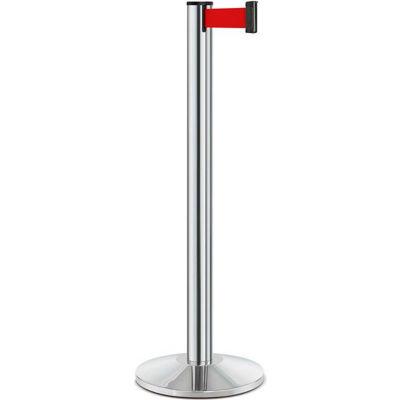 "Lavi Industries Beltrac® Retractable Belt Barrier, 40"" Chrome Post, 7' Red Belt"