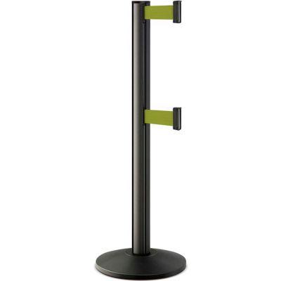 "Lavi Industries Beltrac® Retractable Dual Belt Barrier, 40"" Black Wrinkle Post, 7' Olive Belt"