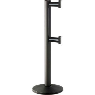 "Lavi Industries Beltrac® Retractable Dual Belt Barrier, 40"" Blk Wrinkle Post, 7' Slvr/Blk Belt"
