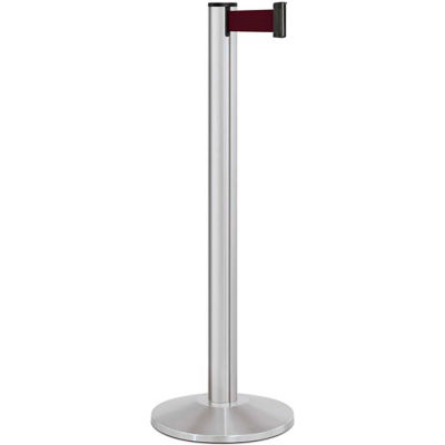 "Lavi Industries Beltrac® Retractable Belt Barrier, 40"" Silver Post, 7' Burgundy Belt"