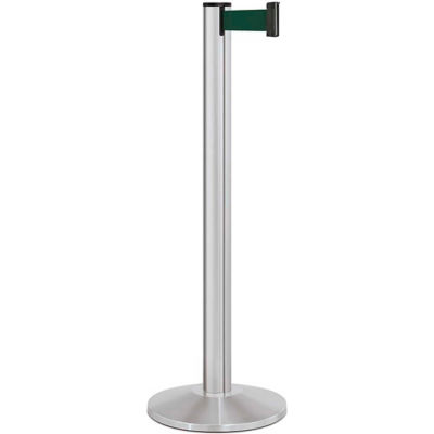 "Lavi Industries Beltrac® Retractable Belt Barrier, 40"" Silver Post, 7' Forest Green Belt"