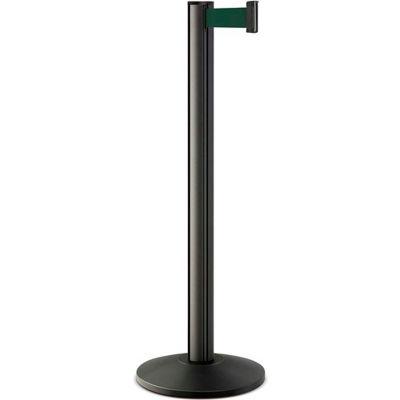 "Lavi Industries Beltrac® Retractable Belt Barrier, 40"" Black Wrinkle Post ,7' Forest Green Belt"