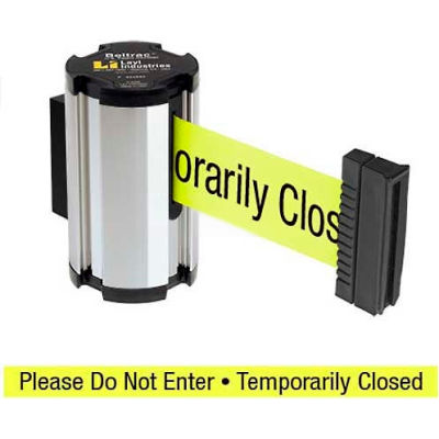 "Lavi Industries Chrome Aisle Closure Wall Mount, 7'L Yellow, ""Please Do Not Enter"" Retractable Belt"