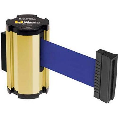 Lavi Industries Gold Anodized Aisle Closure Wall Mount, 7'L Blue Retractable Belt Barrier