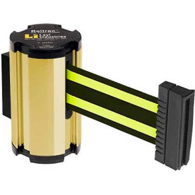 Lavi Industries Gold Anodized Aisle Closure Wall Mount, 7'L Black/Neon Yellow Retractable Belt