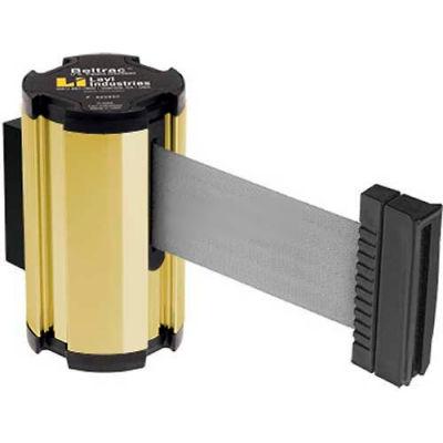 Lavi Industries Gold Anodized Aisle Closure Wall Mount, 7'L Gray Retractable Belt Barrier