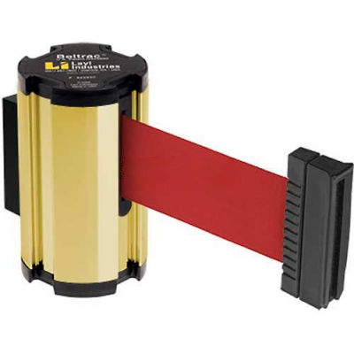 Lavi Industries Gold Anodized Aisle Closure Wall Mount, 7'L Red Retractable Belt Barrier