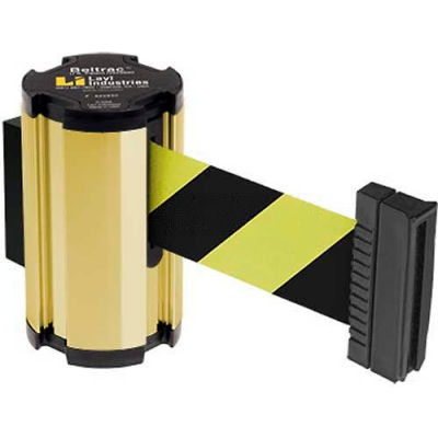 Lavi Industries Gold Anodized Aisle Closure Wall Mount, 7'L Safety Black/Yellow Retractable Belt
