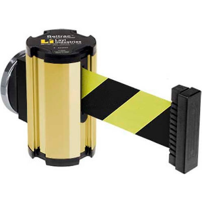 Lavi Industries Gold Anodized Magnetic Wall Mount Unit, 7'L Safety Black/Yellow Retractable Belt
