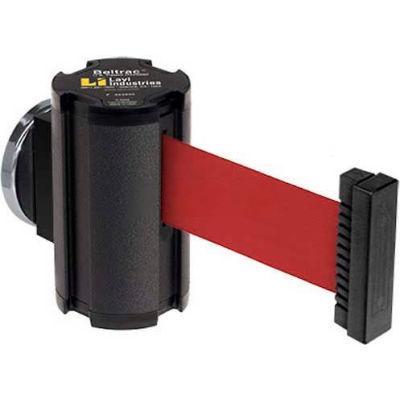 Lavi Industries Wrinkle Black Magnetic Wall Mount Unit, 7'L Red Retractable Belt