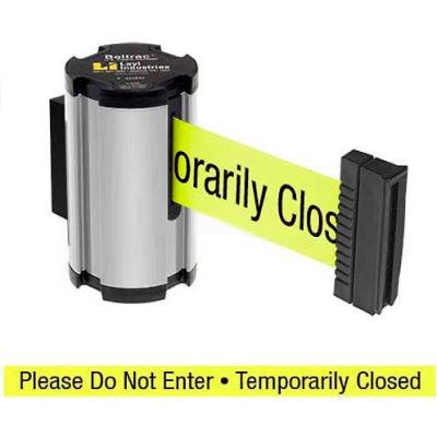 "Lavi Industries Satin Aisle Closure Wall Mount, 7'L Yellow, ""Please Do Not Enter"" Retractable Belt"