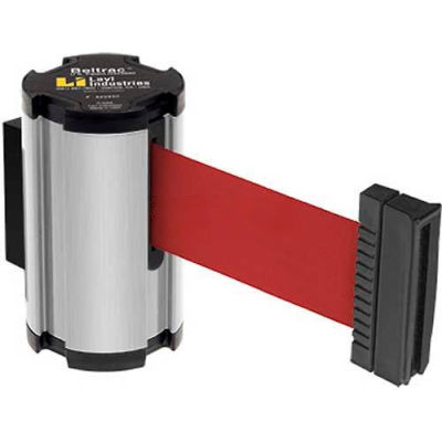 Lavi Industries Satin Aisle Closure Wall Mount, 7'L Red Retractable Belt Barrier