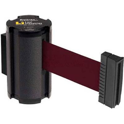 Lavi Industries Black Aisle Closure Wall Mount, 7'L Burgundy Retractable Belt Barrier