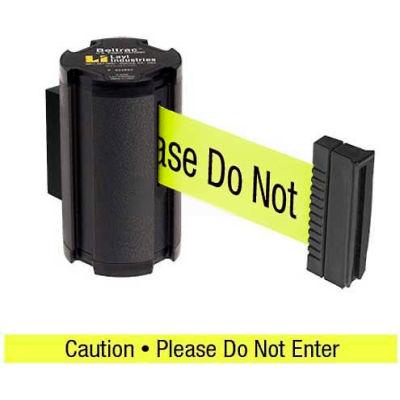 """Lavi Industries Black Aisle Closure Wall Mount, 7'L Yellow, """"Caution - Do Not Enter"""" Belt"""