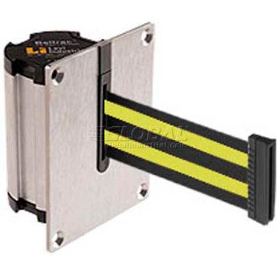 Lavi Industries Beltrac Concealed Mount Wall Unit, 7'L Black/Neon Yellow Retractable Belt