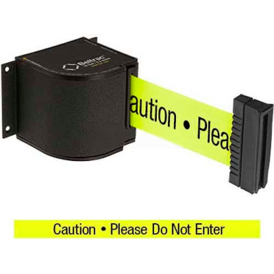 "Lavi Industries Wrinkle Black Wall Mount, 18'L Yellow, ""Caution - Do Not Enter"" Belt"