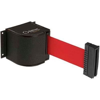 Lavi Industries Wrinkle Black Wall Mount, 18'L Red Retractable Belt Barrier