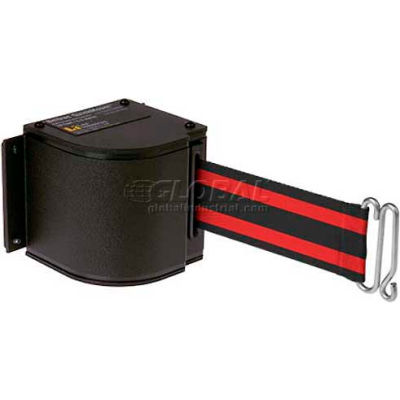 Lavi Industries Black Quick Mount Barricade, 18'L Black/Red Retractable Belt, Modified Mount