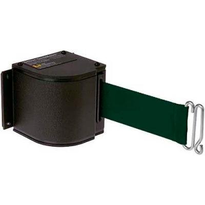 Lavi Industries Black Quick Mount Barricade, 18'L Forest Green Retractable Belt, Modified Mount