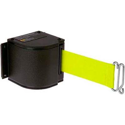 Lavi Industries Black Quick Mount Barricade, 18'L Fluorescent Yellow Retractable Belt