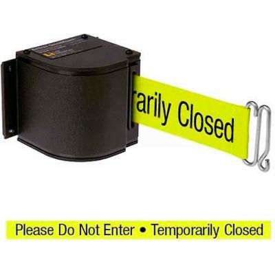 "Lavi Industries Black Quick Mount Barricade, 18'L ""Please Do Not Enter"" Belt, Modified Mount"
