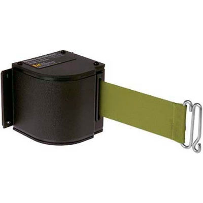 Lavi Industries Black Quick Mount Barricade, 18'L Olive Green Retractable Belt, Modified Mount