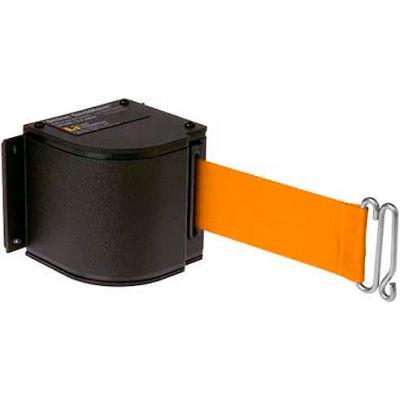 Lavi Industries Black Quick Mount Barricade, 18'L Orange Retractable Belt, Modified Mount